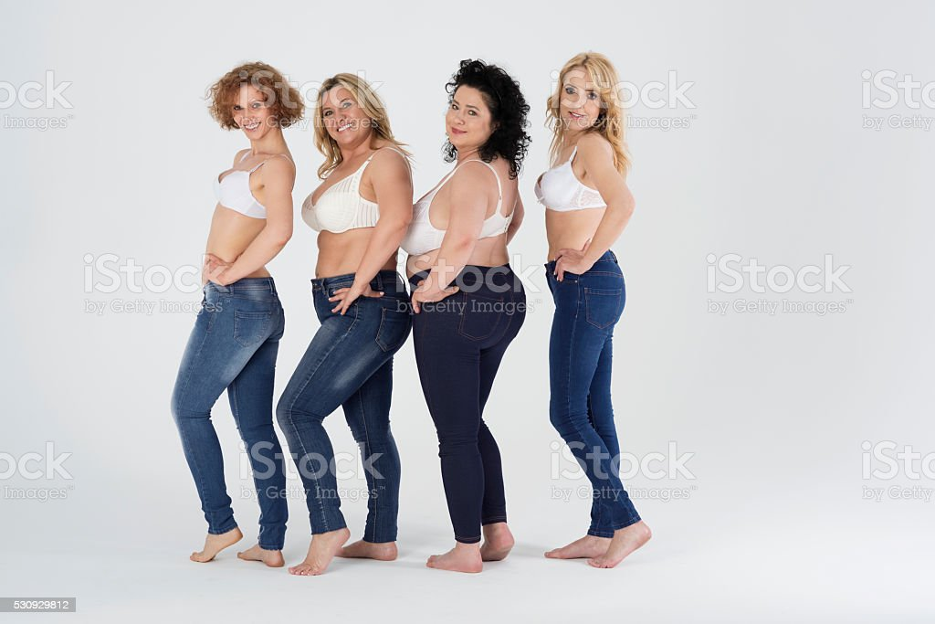 You can wear jeans despite your size stock photo
