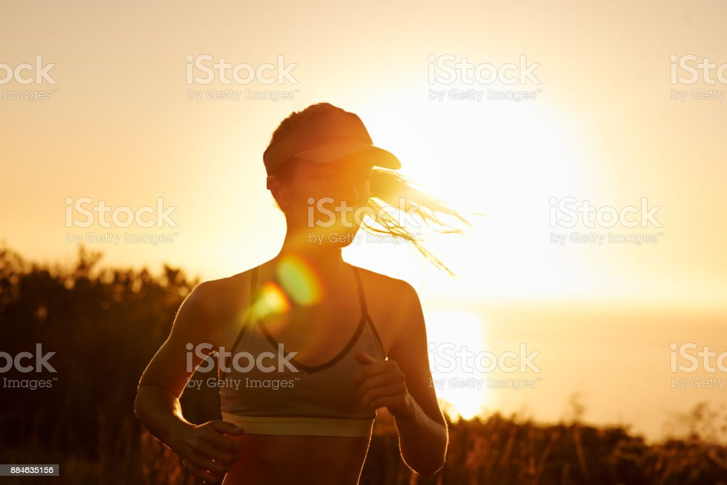 You can't outrun her determination stock photo