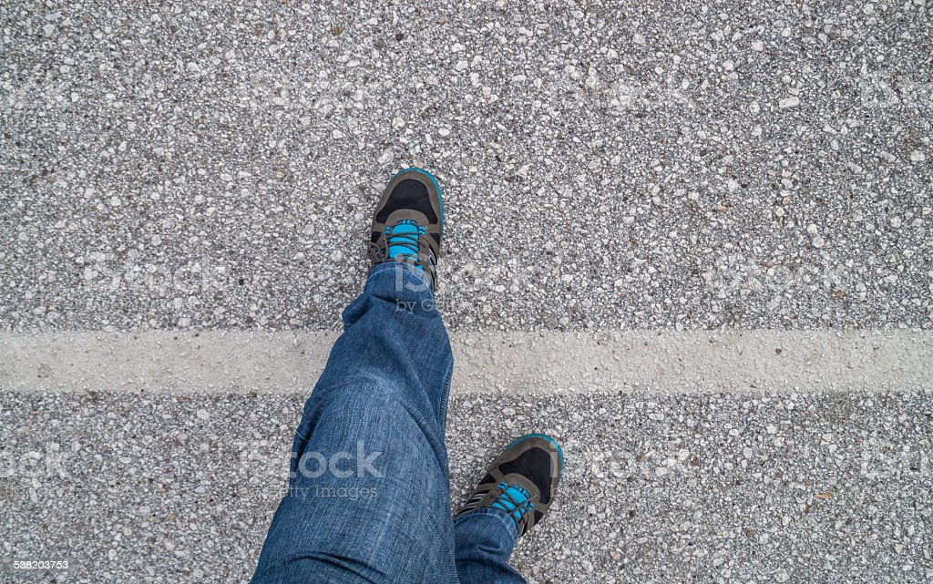You crossed the line concept stock photo