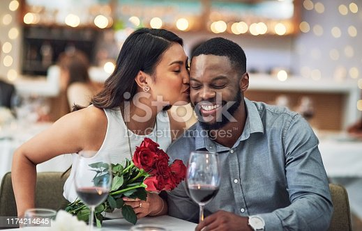 Cropped shot of an affectionate  young woman kissing her boyfriend on his face in a restaurant