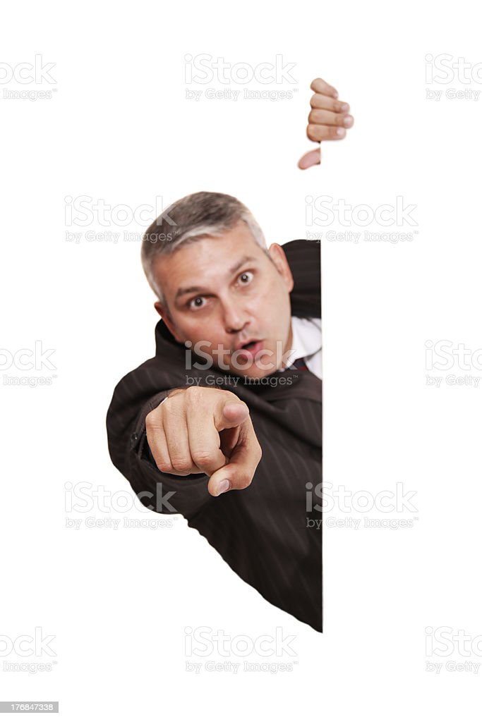 You! Focus on pointing hand royalty-free stock photo