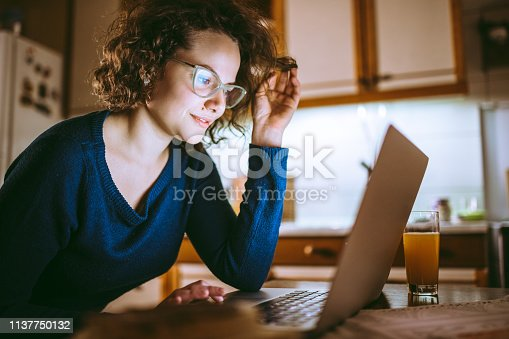 Young beautiful woman looking at the screen of a laptop and smiling