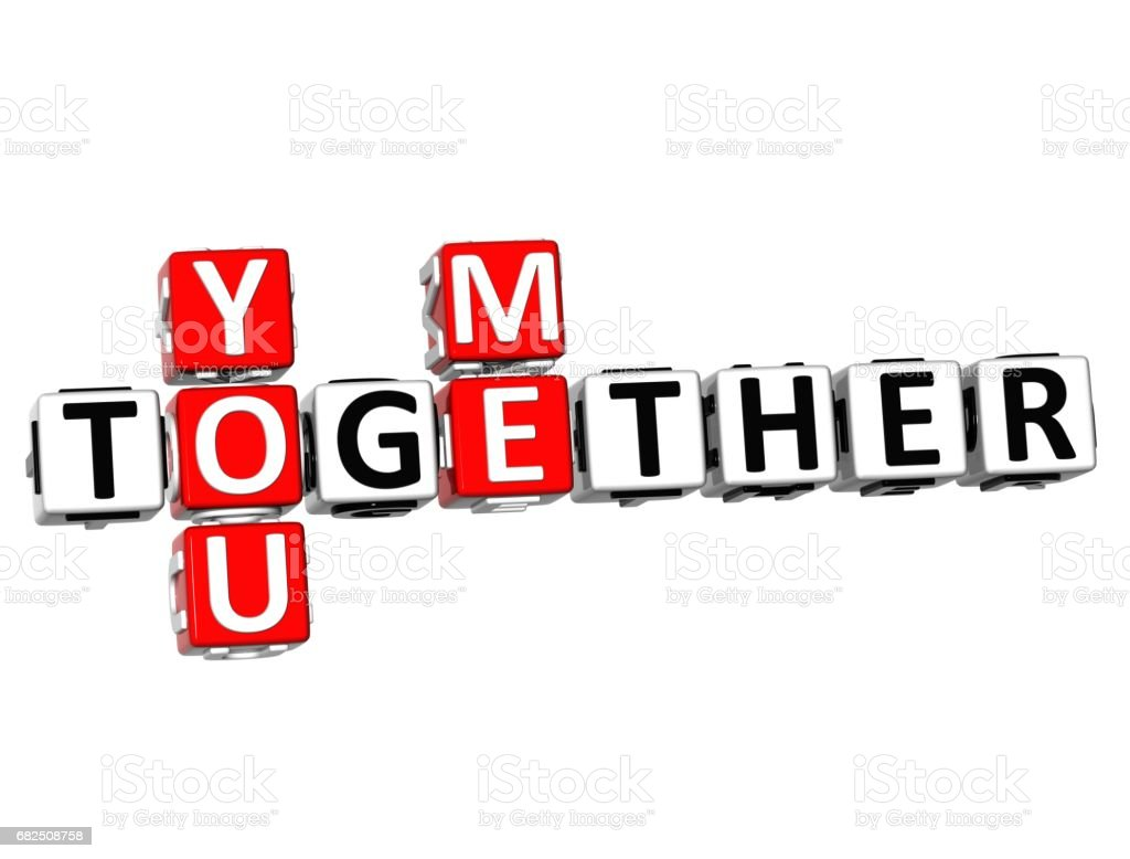 3D You Me Together Crossword royalty-free stock photo
