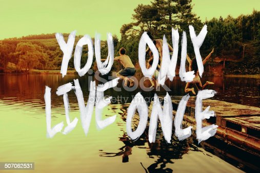 Toned image of a group of teenage friends jumping off a pier into a lake with a text overlay