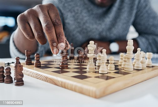 Shot of an unrecognizable businessman playing chess in his office