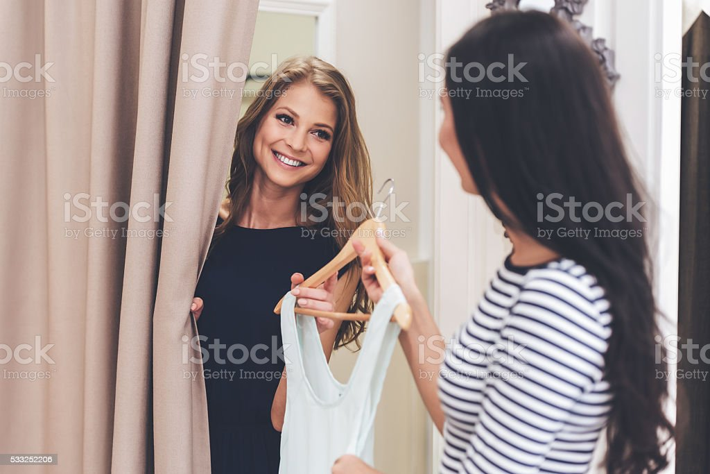 You should try on this dress! stock photo
