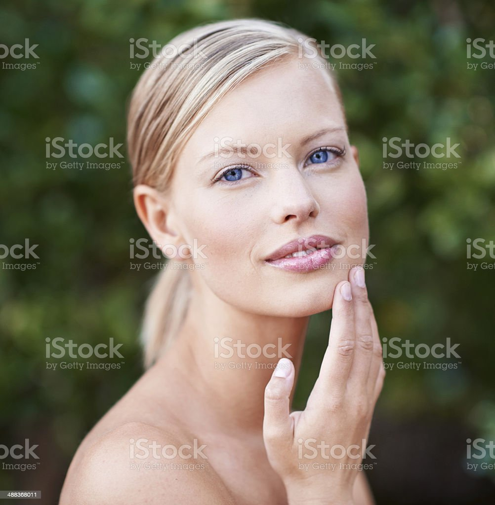 You too can have silky smooth skin stock photo