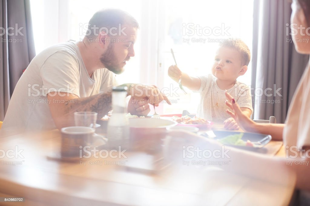 You try it daddy stock photo