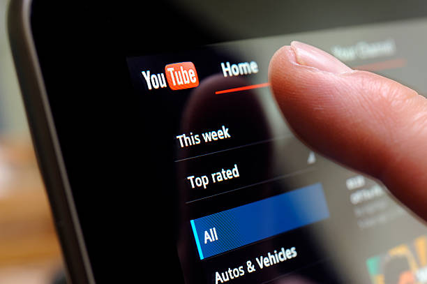 You Tube Web Site on Tablet PC stock photo