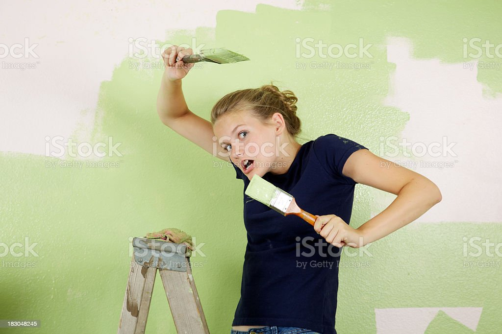 You Want a Piece of Me Painter Girl royalty-free stock photo