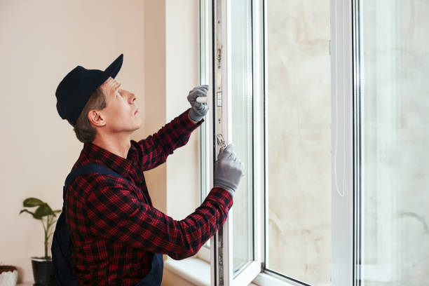 You will hear sound of quiet. Senior handyman setting new windows You will hear sound of quiet. Senior handyman setting new windows at the appartment replacement stock pictures, royalty-free photos & images