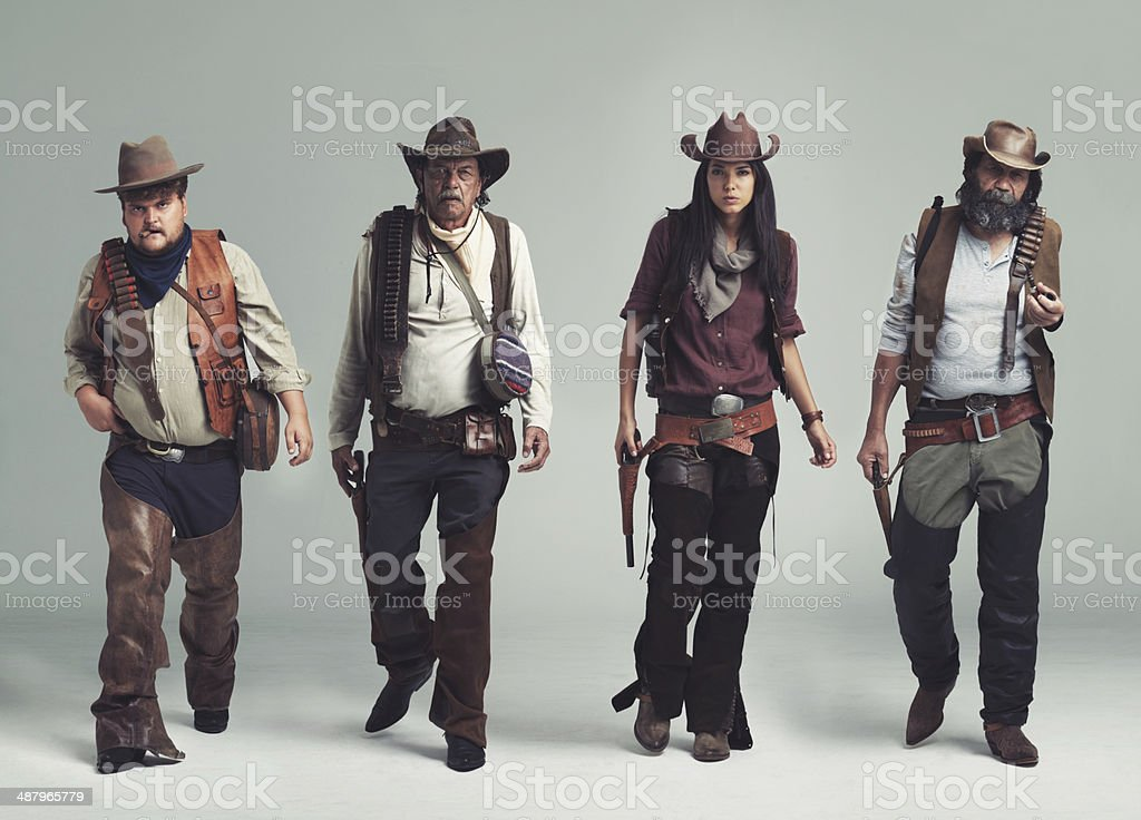 You won't find a more diabolical band of outlaws! stock photo