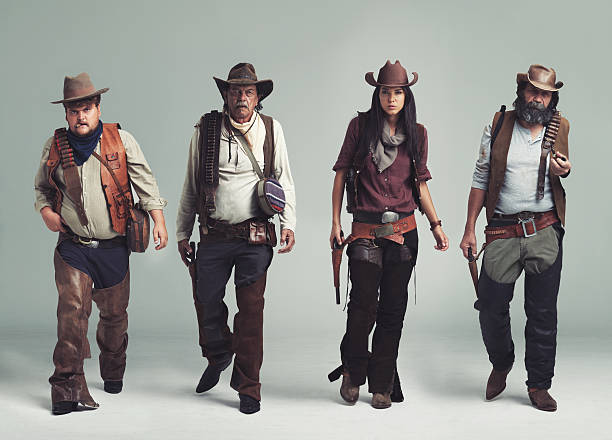 vous ne trouverez pas plus diabolical band of outlaws ! - chapeau de cow boy photos et images de collection