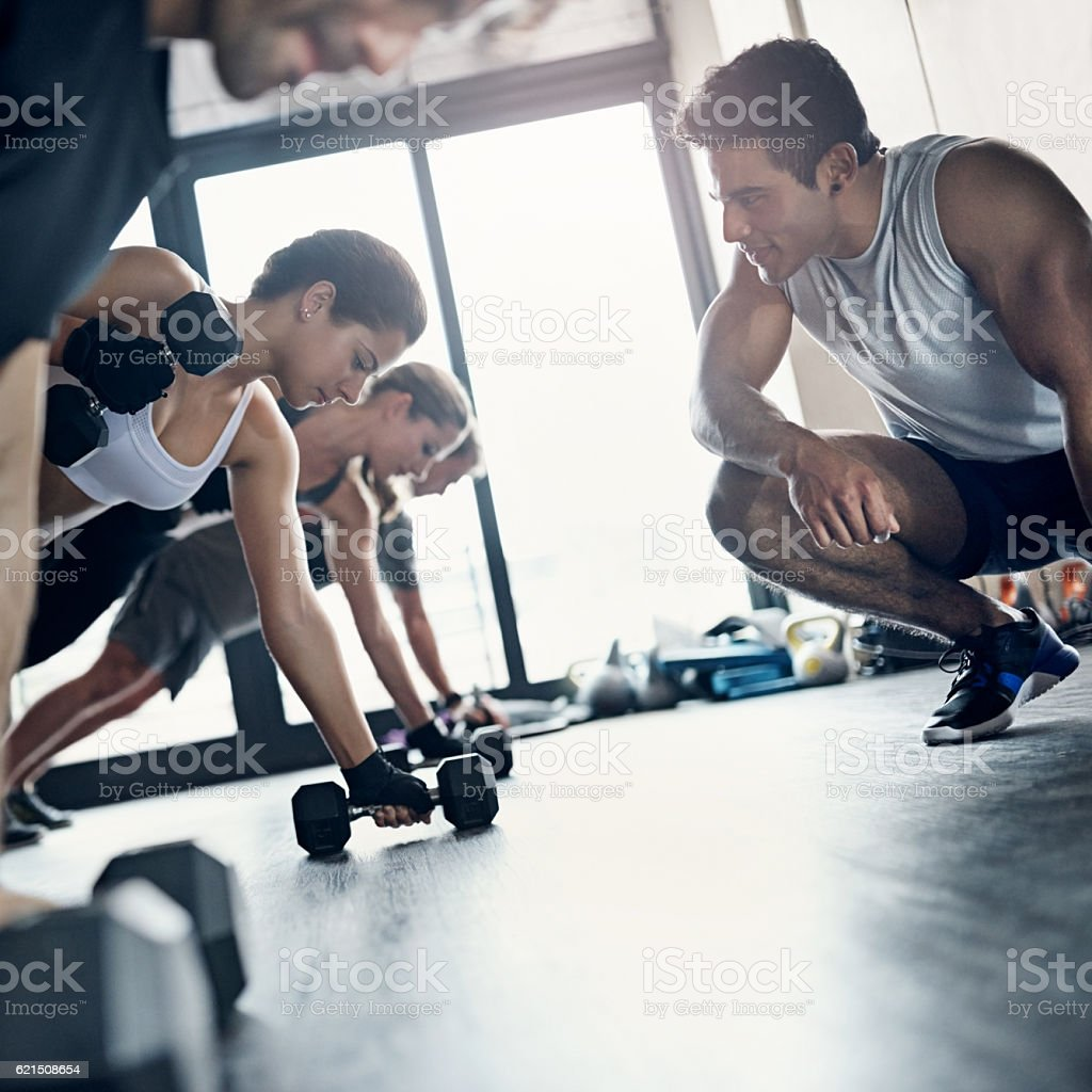 You'll get a more intense workout when joining a group foto stock royalty-free
