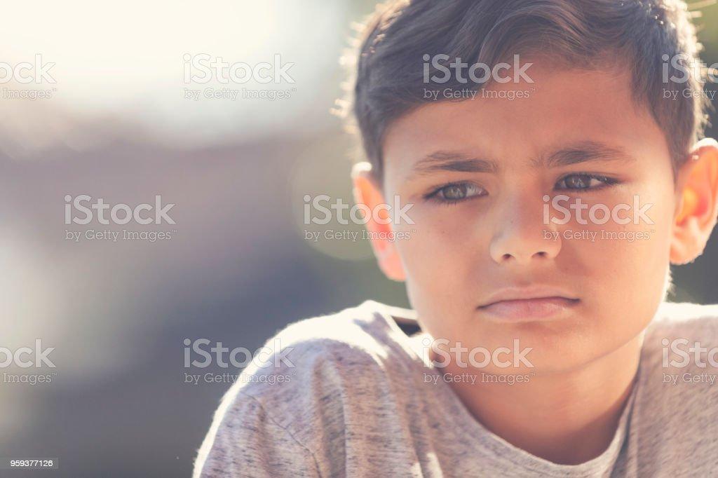 Young Aboriginal boy portrait. stock photo