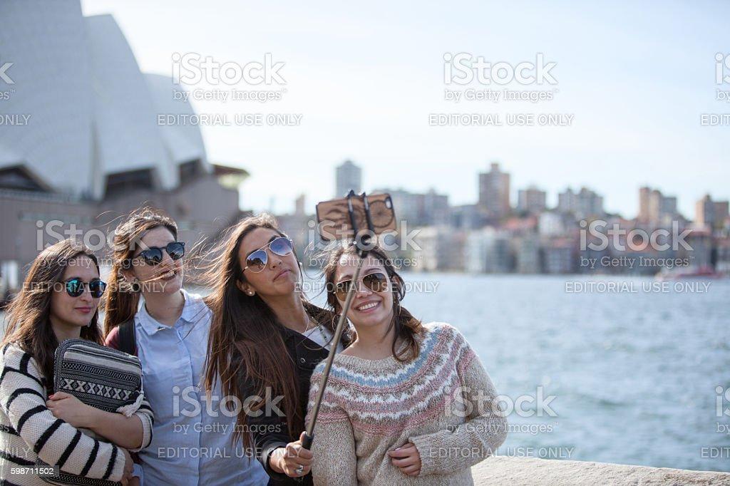 Young Adult Asian Females Sydney Opera House Harbor Selfy stock photo