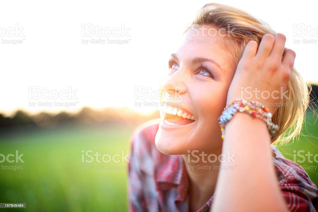 young adult attractive energetic outdoors female royalty-free stock photo