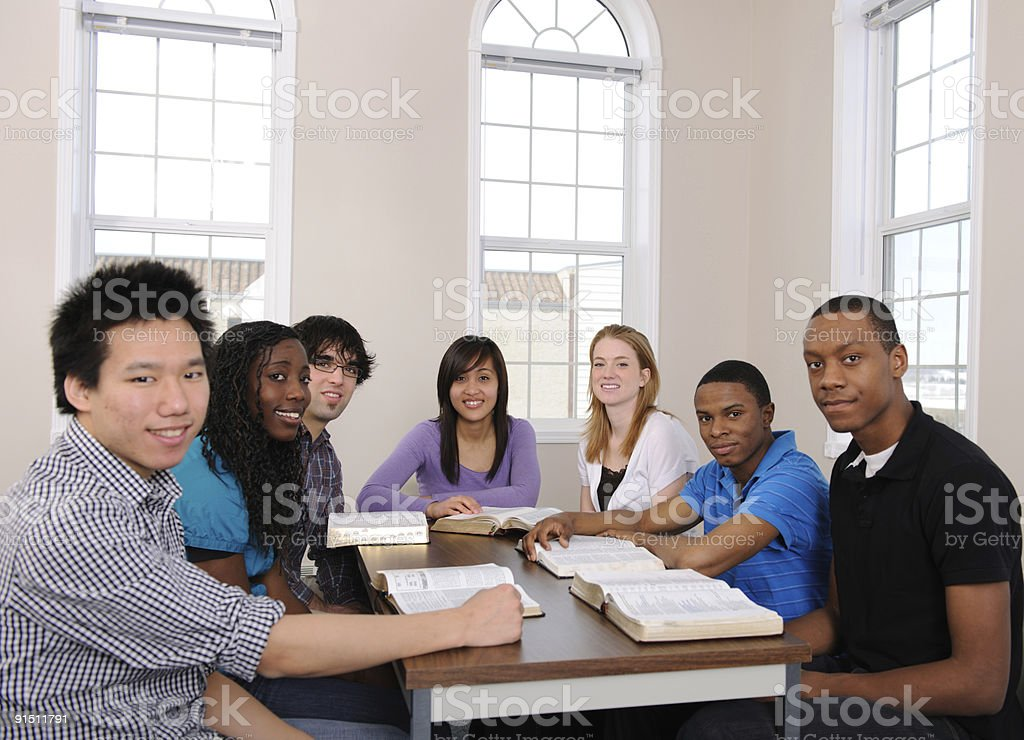 Young Adult Bible Study Group royalty-free stock photo