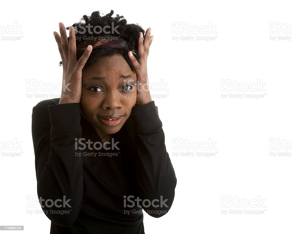 Young Adult Black Woman Looking Frustrated royalty-free stock photo