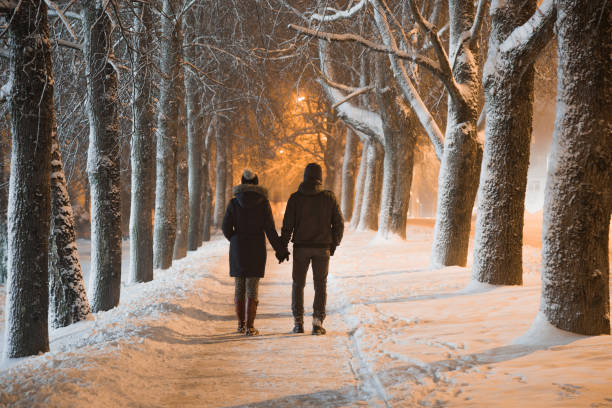 Young adult couple holding each other hands and walking on snow covered sidewalk through alley of trees. Peaceful atmosphere in snowy winter night. Enjoying fresh air. Back view. Young adult couple holding each other hands and walking on snow covered sidewalk through alley of trees. Peaceful atmosphere in snowy winter night. Enjoying fresh air. Back view. date night romance stock pictures, royalty-free photos & images