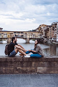 Young adult couple together in Florence, Italy