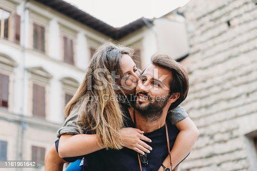 Young adult couple vacation in Italy