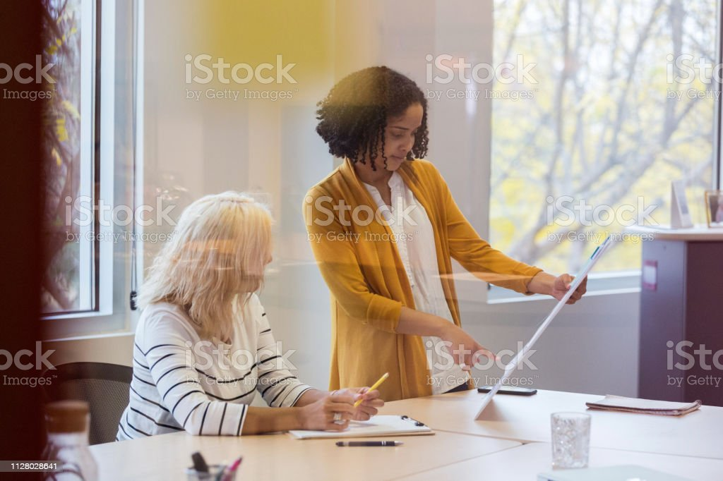 Young mixed race female design professional shows her ideas to a...
