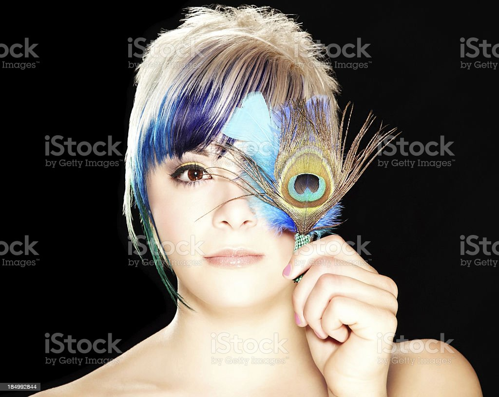 Young Adult Female Model with Multi-Colored Hair royalty-free stock photo