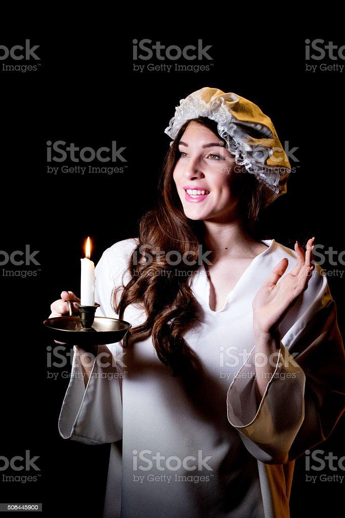 Jeune adulte femme agitant bonne nuit - Photo