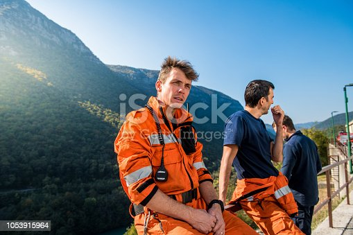 Firefighters in a rescue operation. all logos removed. Slovenia, Europe. Nikon.