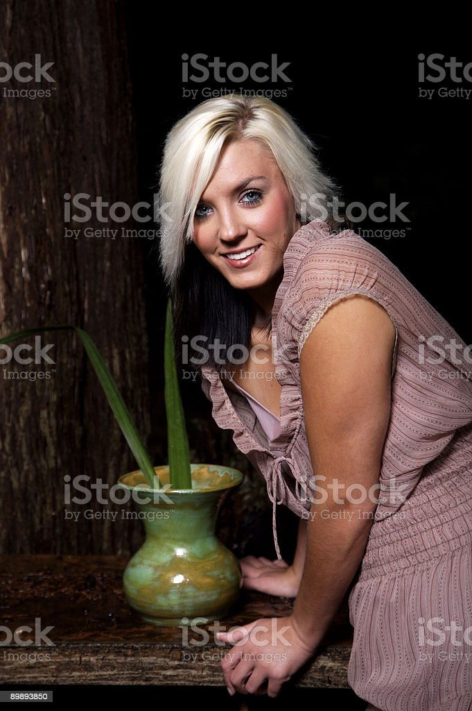 young adult green pottery portraits royalty-free stock photo