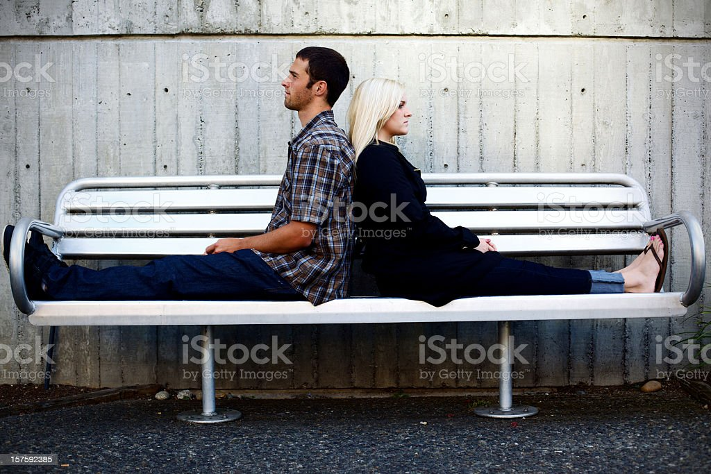 Young adult happy couple outdoors stock photo
