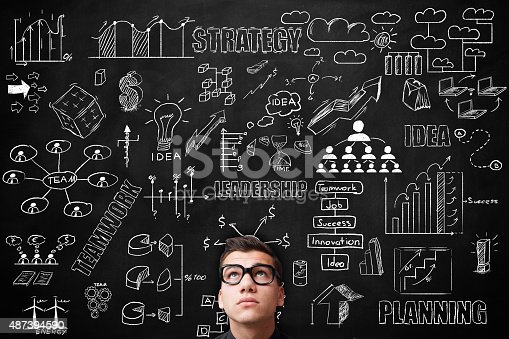 istock Young adult Idea concept on blackboard 487394590