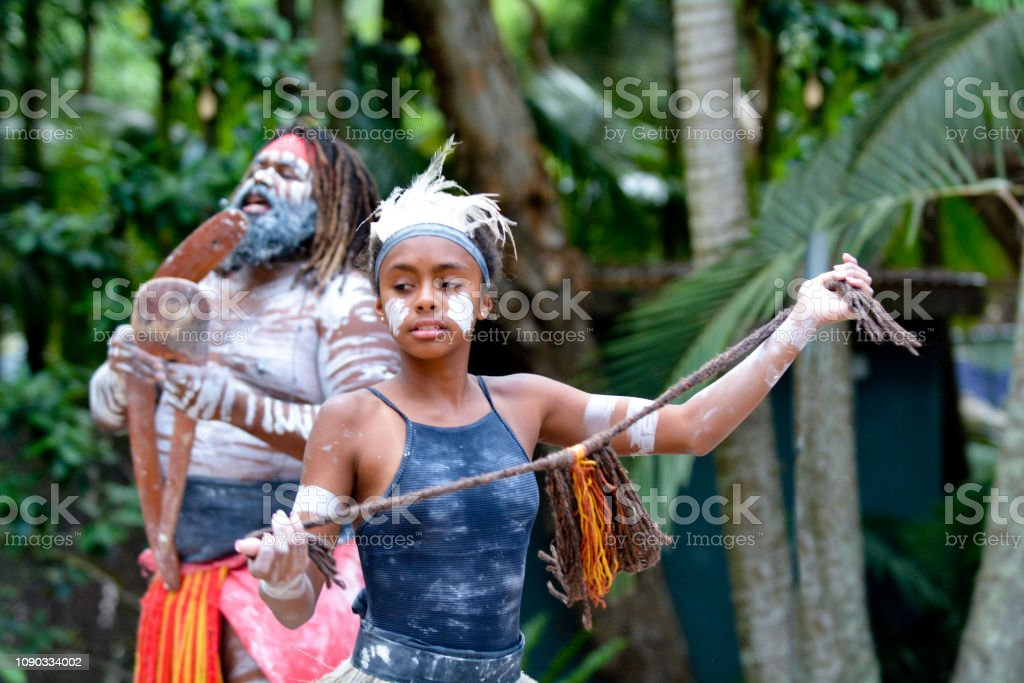 Young Adult Indigenous Australian Woman Dancing royalty-free stock photo
