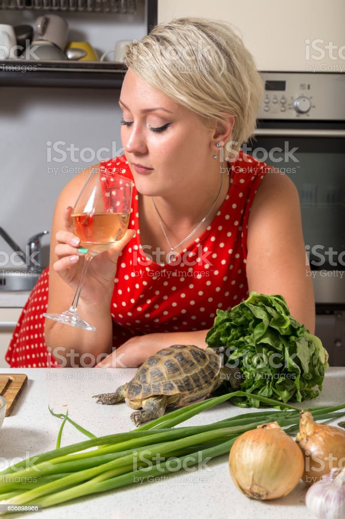 Young adult looking  at wine glass while tortoise eats salad stock photo