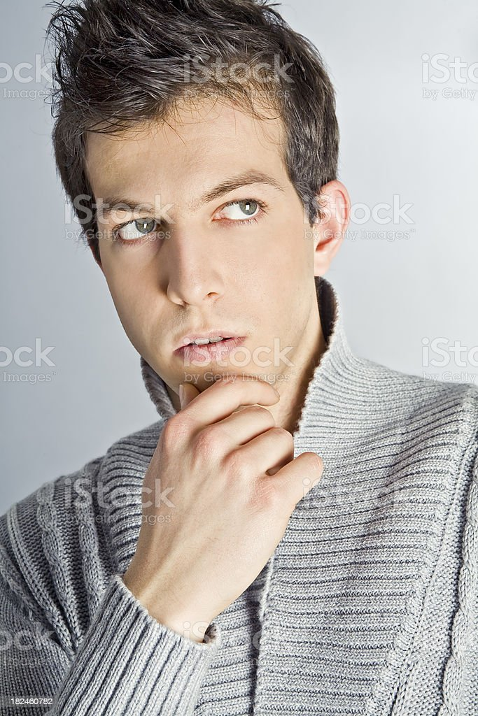 Young Adult Man Portrait Isolated Looking Aside royalty-free stock photo
