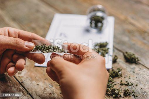 Young adult man rolling a marijuana joint