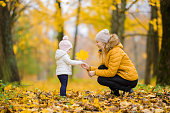 Young adult mother giving big bright yellow maple leaf to little daughter at park. Golden autumn. Spending time together in beautiful day. Side view.