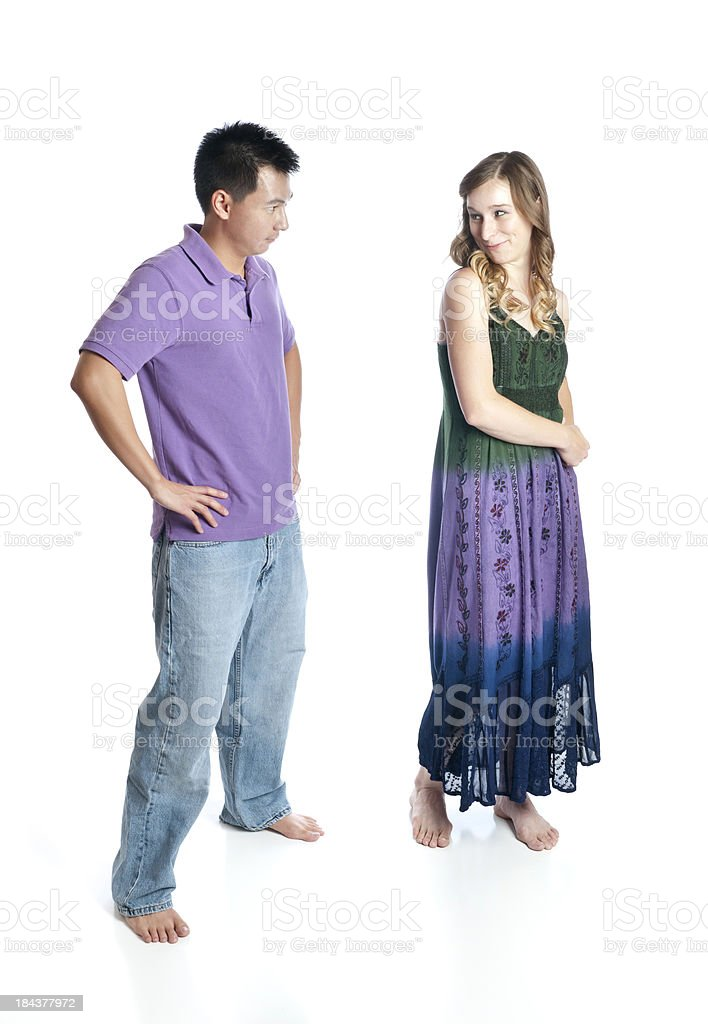 Young Adult Playful Female and Stern Boyfriend royalty-free stock photo