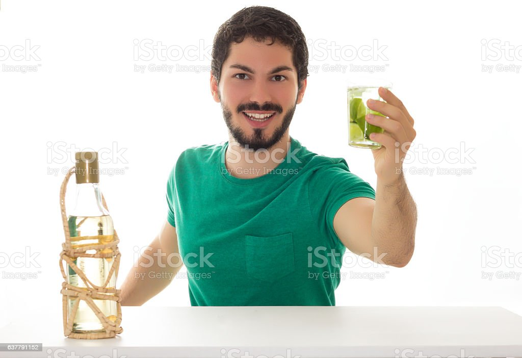 Young adult proposes a toast. stock photo