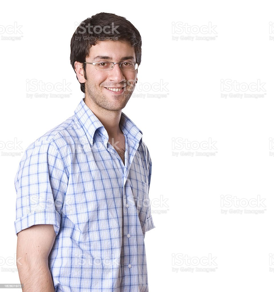 Young adult smiling against white background royalty-free stock photo