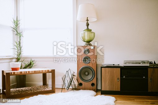 A modern home with retro styled living room.  Sheep skin rug, record player, wood speaker, and vintage lamp, lit by a bright window.