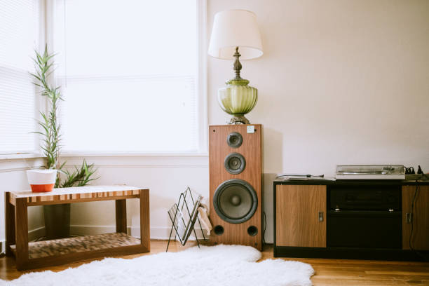 Young Adult Styled Living Room Setting A modern home with retro styled living room.  Sheep skin rug, record player, wood speaker, and vintage lamp, lit by a bright window. stereo stock pictures, royalty-free photos & images