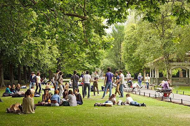 Young adult tourists in St Stephen's Green, Dublin