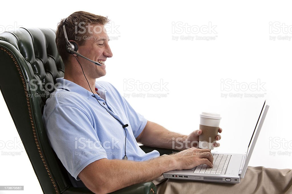 Young adult wearing headset royalty-free stock photo