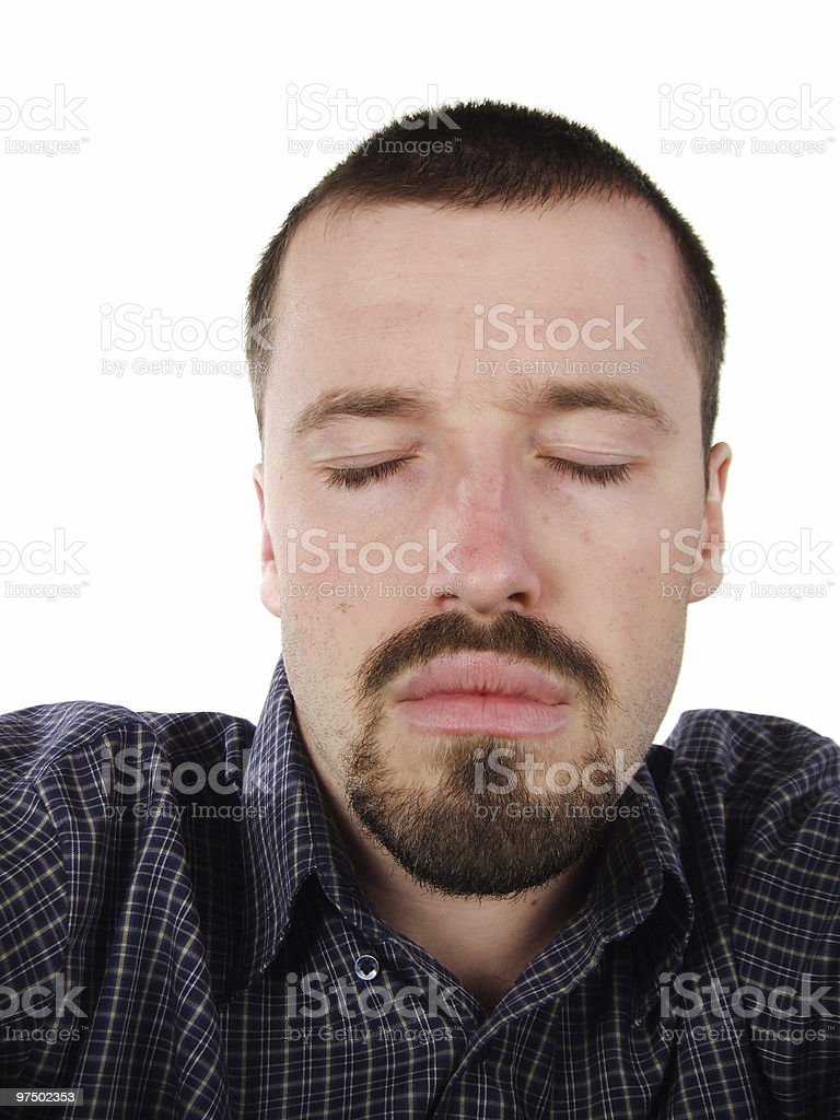 Young adult with closed eyes royalty-free stock photo