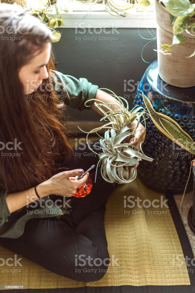 Lifestyle photos of a young adult woman watering her indoor plant...