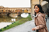 Young adult woman exploring Florence in Italy