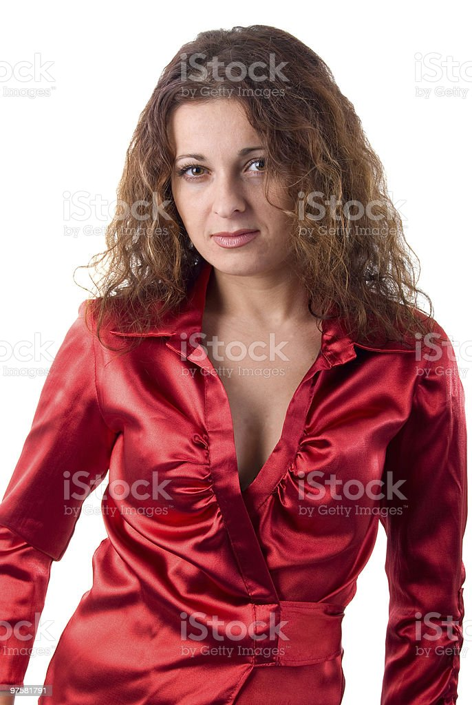 Young Adult Woman In Red Silk. royalty-free stock photo