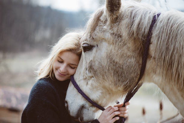Young adult woman loves her white horse after ride stock photo